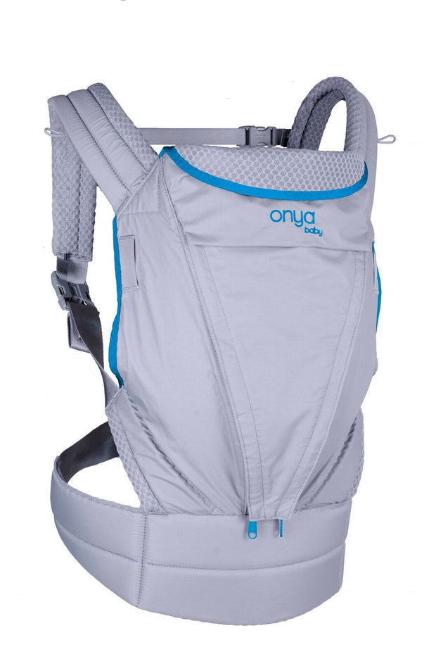 Onya Baby Pure Baby Carrier in Granite & Atoll Blue - Urban Stroller
