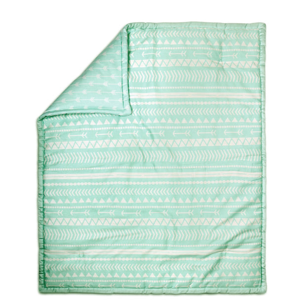 The Peanutshell Tribal Print Cotton Quilt In Mint - Urban Stroller