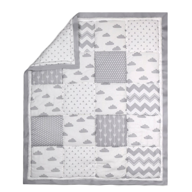 The Peanutshell Cloud Patchwork Cotton Quilt In Grey - Urban Stroller
