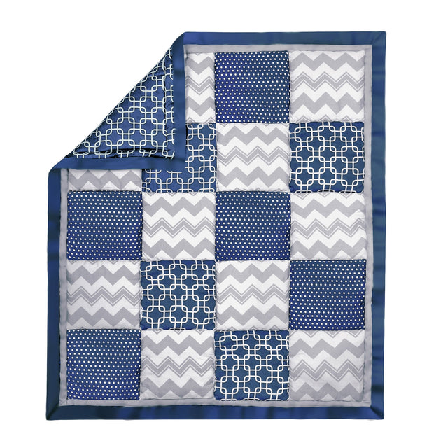 The Peanutshell Geo Patchwork Cotton Quilt In Navy & Grey - Urban Stroller