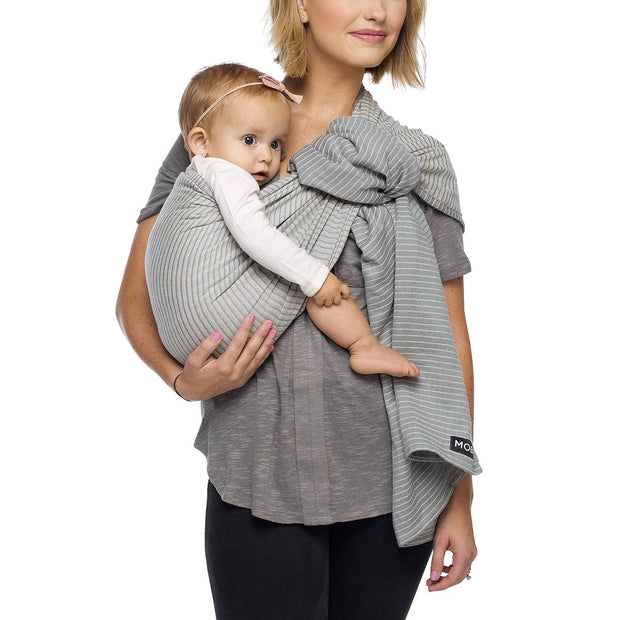 Moby Ring Sling Baby Carrier in Silver Streak - Urban Stroller