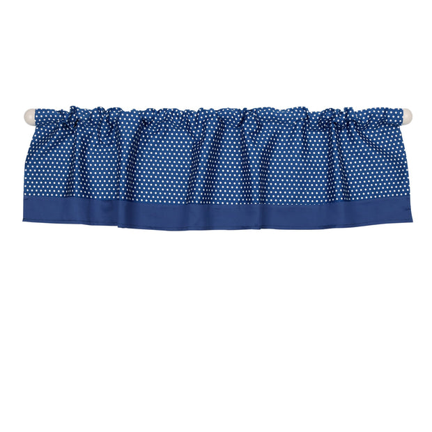 The Peanutshell Navy Dot Window Valance - Urban Stroller