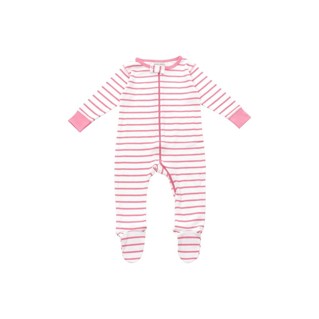 footed pajamas in pink marseille stripe - Urban Stroller