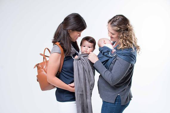 Hope Carried Linen Ring Sling in Grey - Urban Stroller