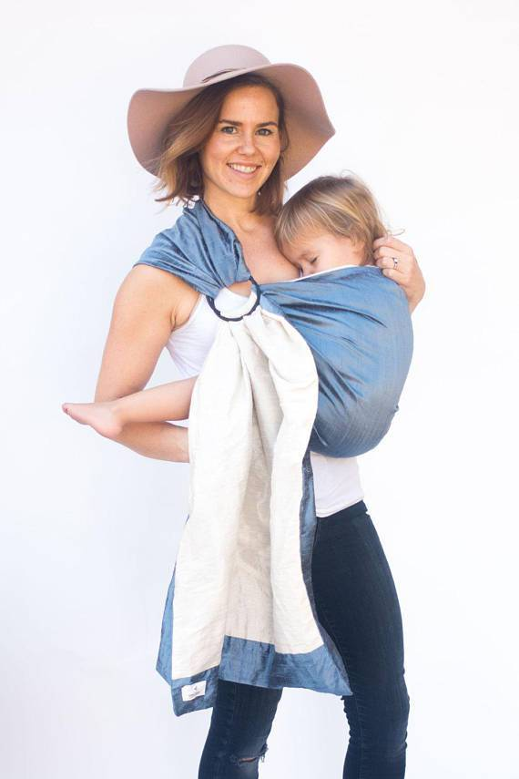 Hope Carried Double-Layer Silk Ring Sling in Periwinkle - Urban Stroller