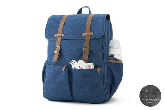 Oliday CarryAll Backpack Diaper Bag in Blue Denim - Urban Stroller