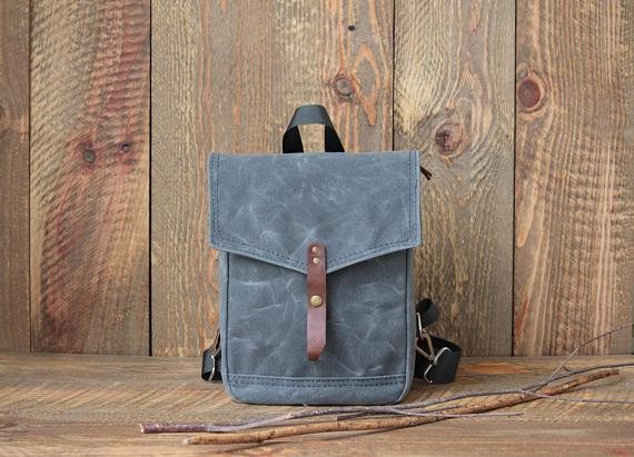 Hopbag Mini Backpack, Grey Wax Canvas Backpack Diaper Bag - Urban Stroller