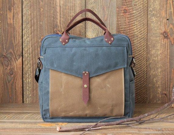 Hopbag Extra Large Grey Wax Canvas Convertible Diaper Bag - Urban Stroller