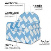 P'kolino Little Reader Toddler Chair in Chevron Blue - Urban Stroller