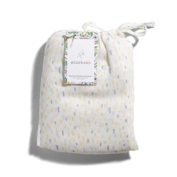 Storksak Muslin Swaddle Blanket in Raindot Print