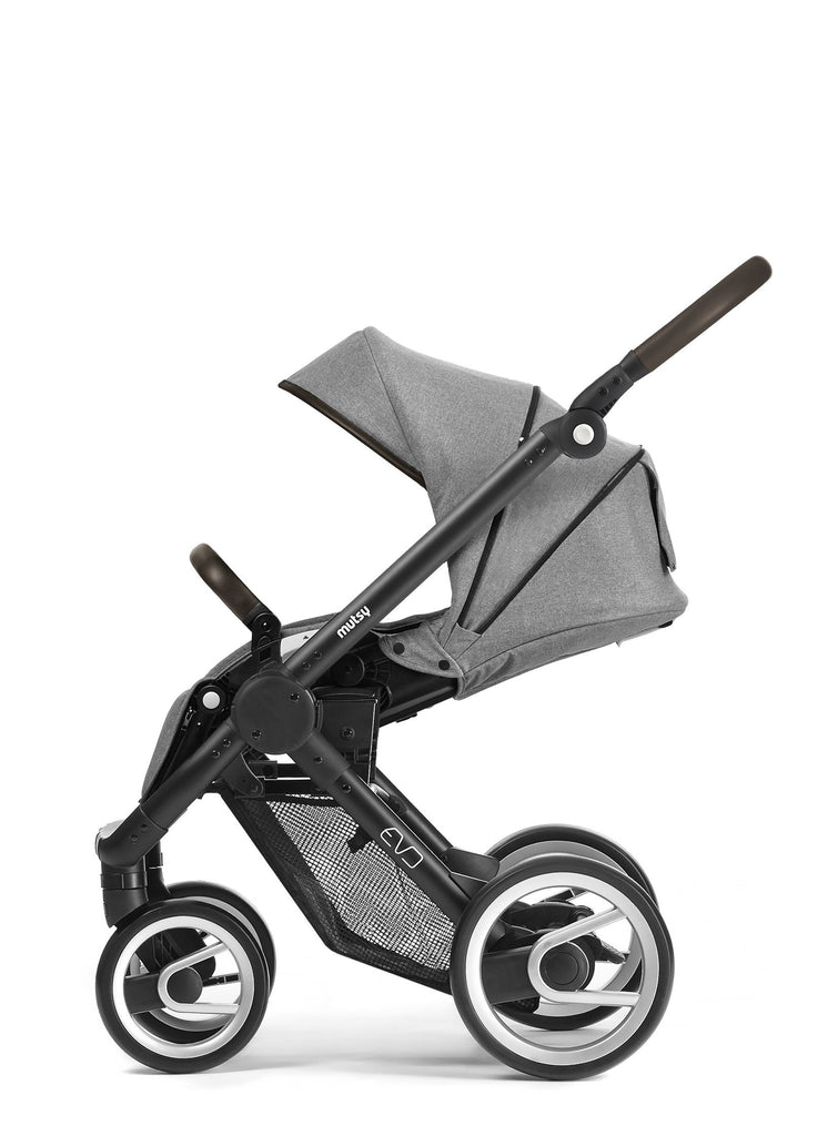 Mutsy Evo Farmer Stroller in Fishbone Dawn with Blue Grey Frame - Urban Stroller