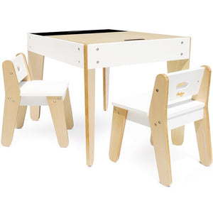 P'kolino Little Modern Table and Chairs in White - Urban Stroller
