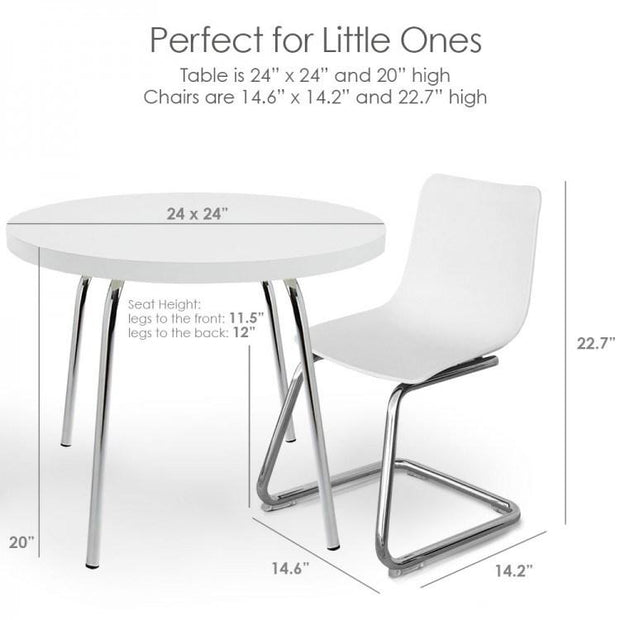 P'kolino Modern Kids Round Table and Chairs in White - Urban Stroller
