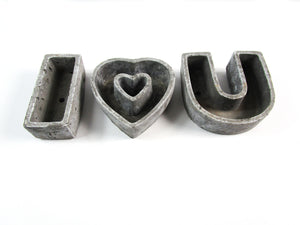 Heart Shaped Concrete Planter, I Love You Concrete Pot, Hand Made. Prefect Home decor Gift. FREE SHIPPING!