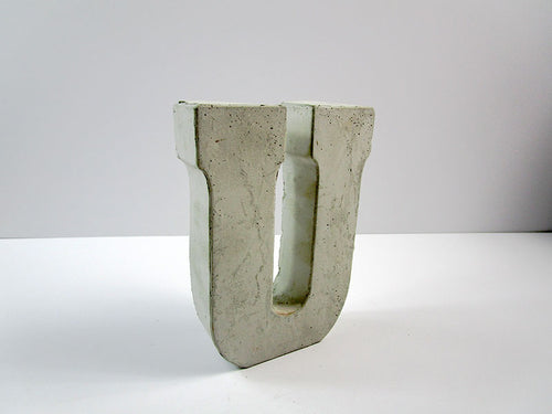 "Discount Home Decor Concrete Letter ""U"", Hand Made. Cheap Decor, FREE SHIPPING!"
