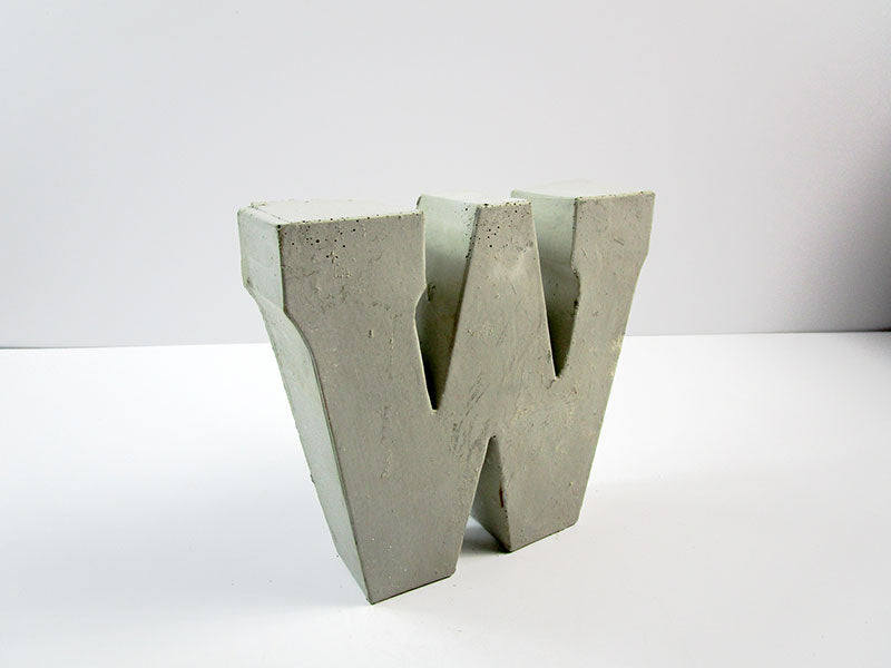"Discount Home Decor Concrete Letter ""W"", Hand Made. Cheap Decor, FREE SHIPPING!"