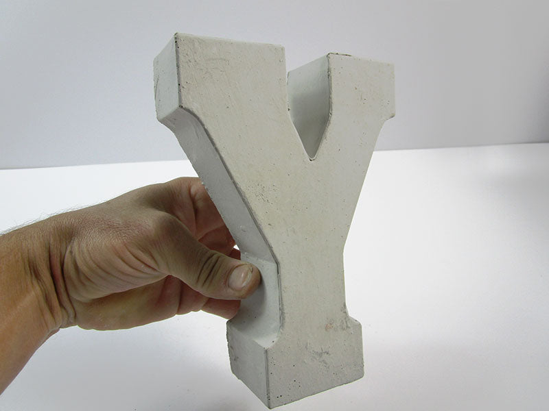 "Discount Home Decor Concrete Letter ""Y"", Hand Made. Cheap Decor, FREE SHIPPING!"