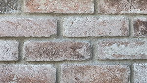 Sample of NEW STYLE BRICK VENEERS - WHITE WASHED COLOR. THIN BRICK VENEERS