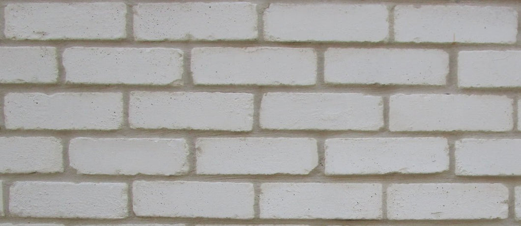 Sample of NEW STYLE BRICK VENEERS -PURE WHITE COLOR. THIN BRICK VENEERS. THIN BRICK TILES. BRICK VENEER WALLS.