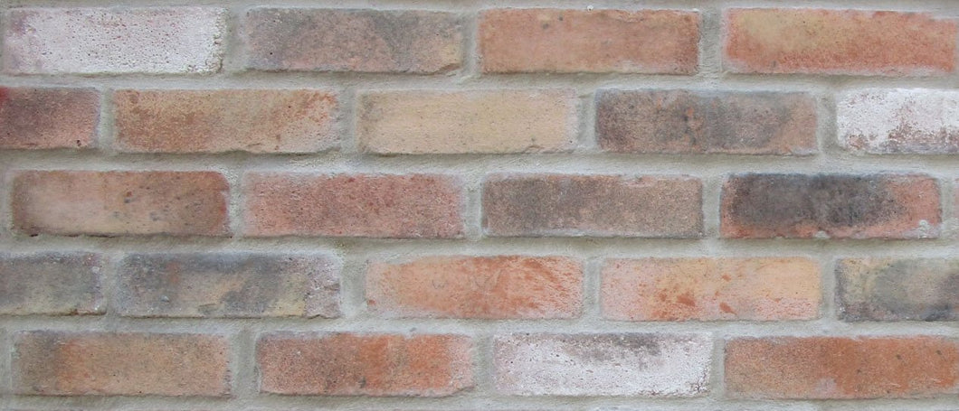 Sample of NEW STYLE BRICK VENEERS - TEQUILA SUNRISE COLOR. THIN BRICK VENEERS. THIN BRICK TILES. BRICK VENEER WALLS.