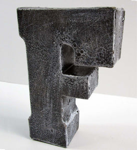 "Home Decor Wholesale Priced Concrete Letter ""F"", Hand Made. Buy Home Decor. FREE SHIPPING!"