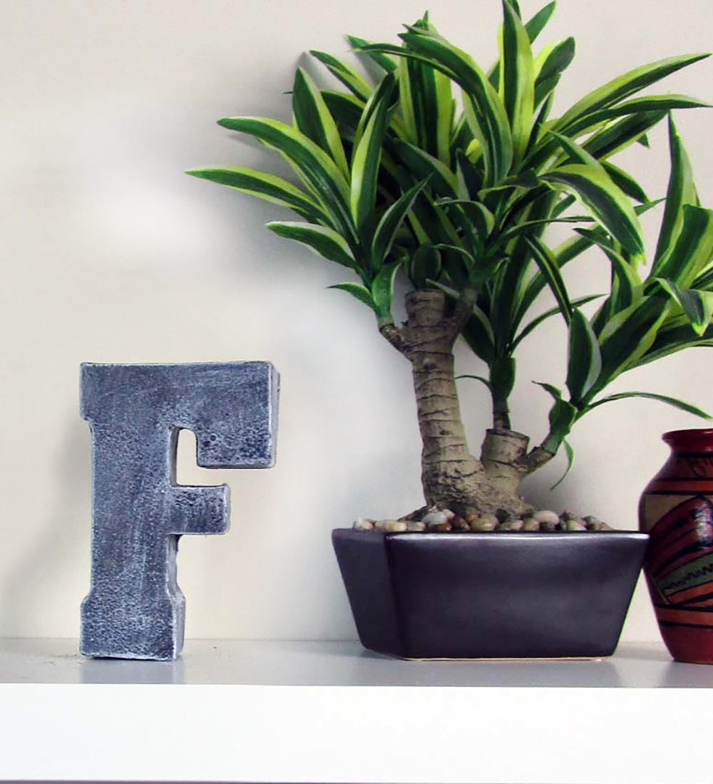 "Home Decor Wholesale Priced Concrete Letter ""F"", Hand Made"