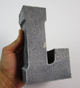 "Inexpensive Home Decor Concrete Letter ""L"", Hand Made. Cheap Decor, FREE SHIPPING!"
