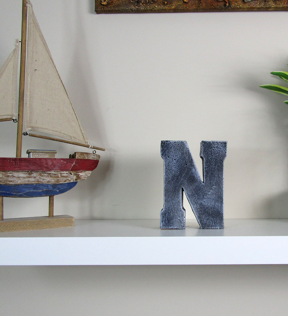 """House Decorating Concrete Letter """"N"""", Hand Made. Discount"""
