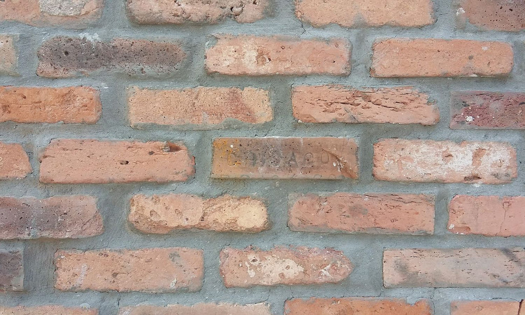 Brick Veneer Collection: Sample Of CHICAGO STYLE BRICK VENEERS-REAL CLAY COLOR. OLD