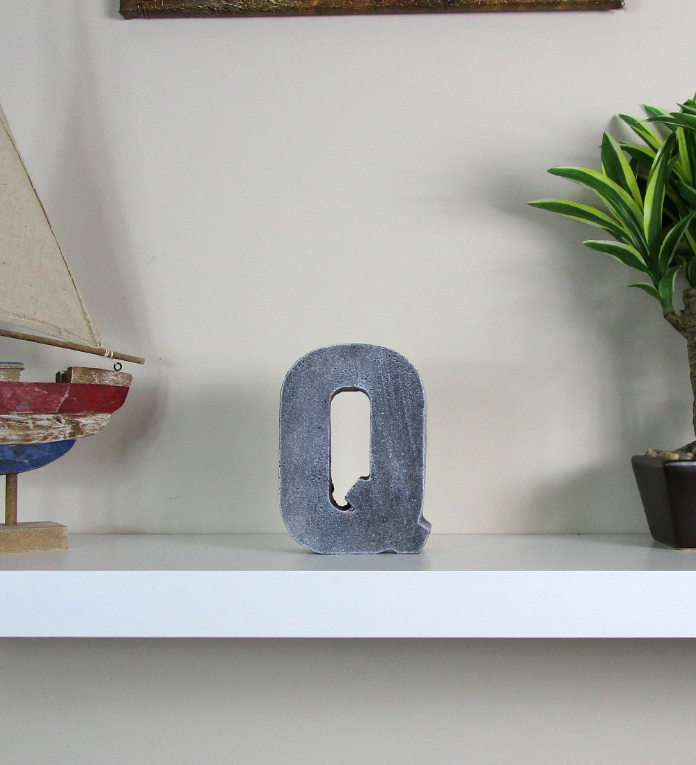 great decorate your home interior with new concrete letter q hand made