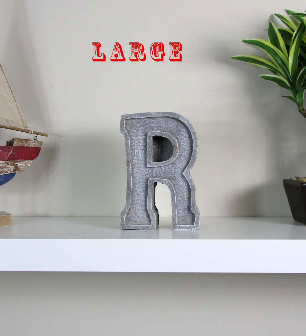"25 Vivacious Kids Rooms With Brick Walls Full Of Personality: New Home Decor Concrete Letter ""R"", Hand Made. Unique"