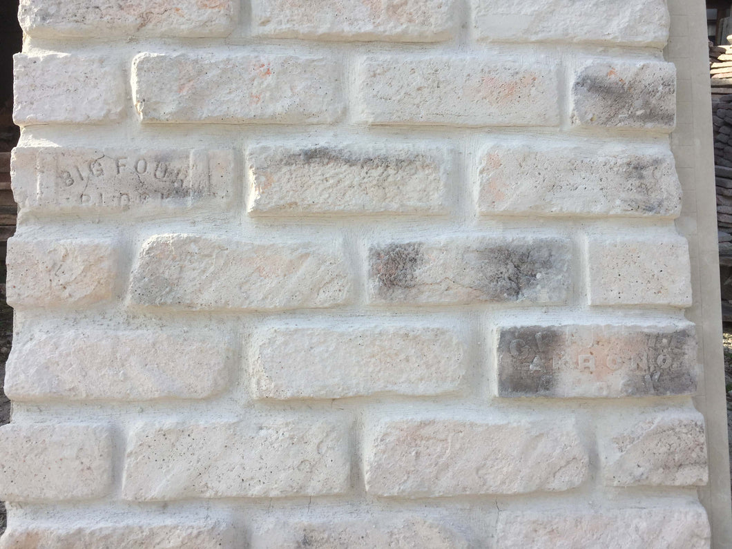 Sample of KING SIZE STYLE BRICK VENEER- WHITE MIXED COLOR.