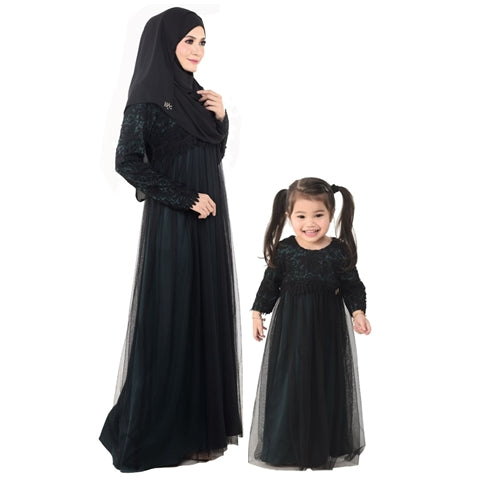 Kylie Dress Mom & Kid Emerald Green