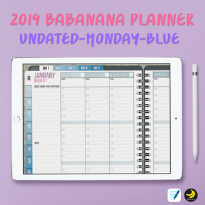 2019 BabaNana Digital Planner for iPad pro GoodNotes with functioning tabs - FREE STICKER BOOK!