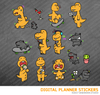 Kawaii Apatosaurus Dinosaur Set 1 Digital Planner Stickers for iPad Planners Goodnotes