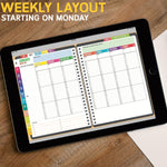 JULY 2018-JUNE 2019 DATED SUNDAY Version: BabaNana Digital Planner for GoodNotes with functioning tabs
