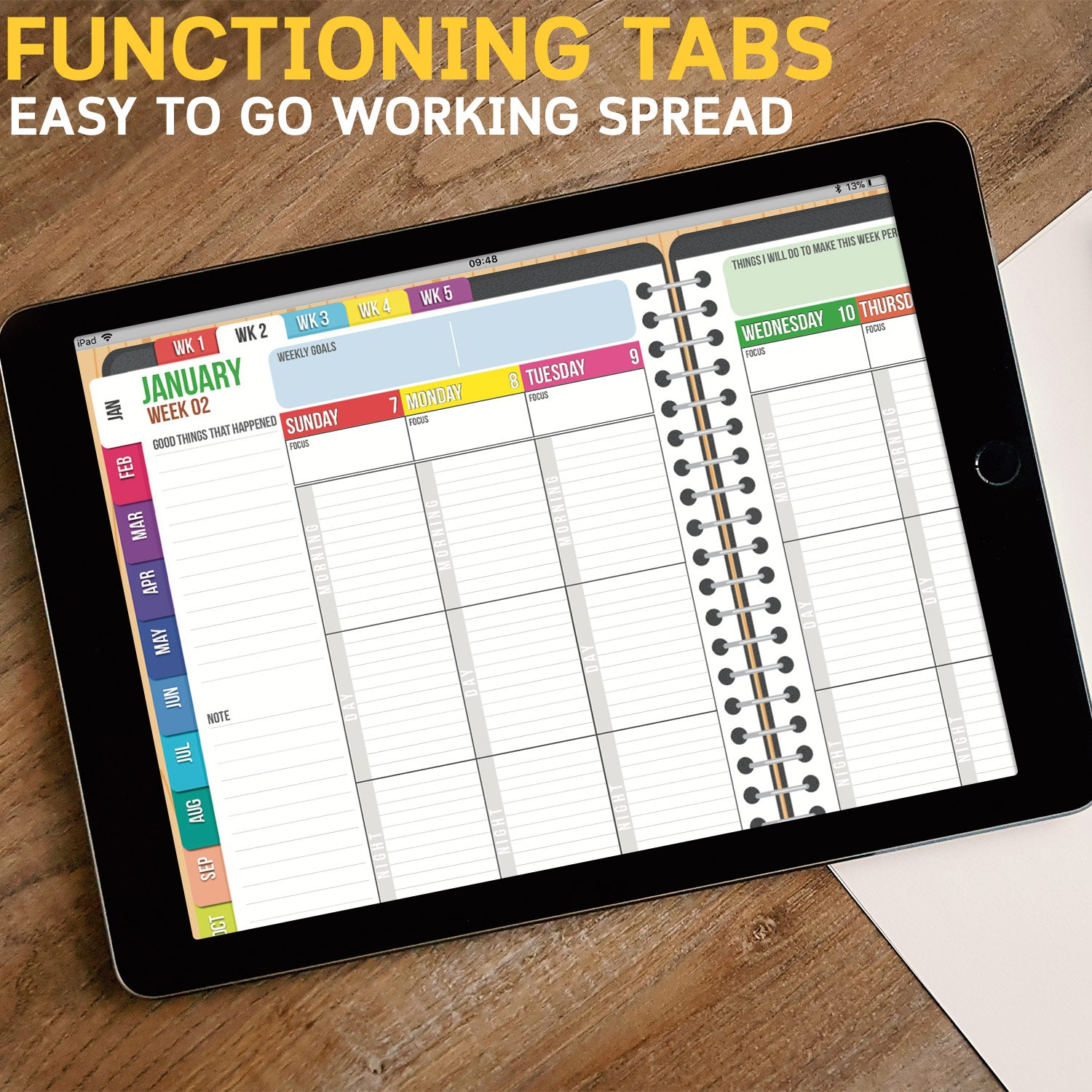 2018 DATED SUNDAY Version: BabaNana Digital Planner for GoodNotes with functioning tabs