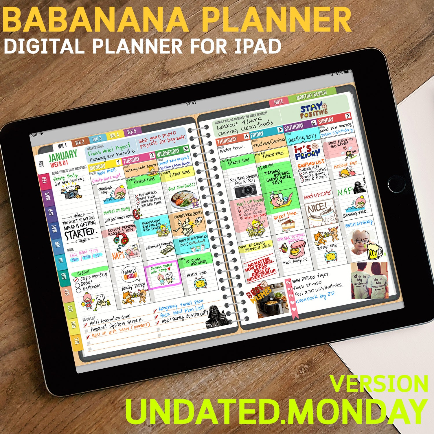 photo about Free Digital Planner Pdf titled BabaNana Electronic Planner for GoodNotes with doing work tabs : UNDATED MONDAY Model