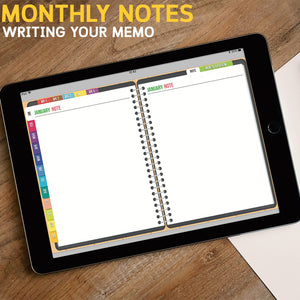 JULY 2018-JUNE 2019 DATED MONDAY Version: BabaNana Digital Planner for GoodNotes with functioning tabs