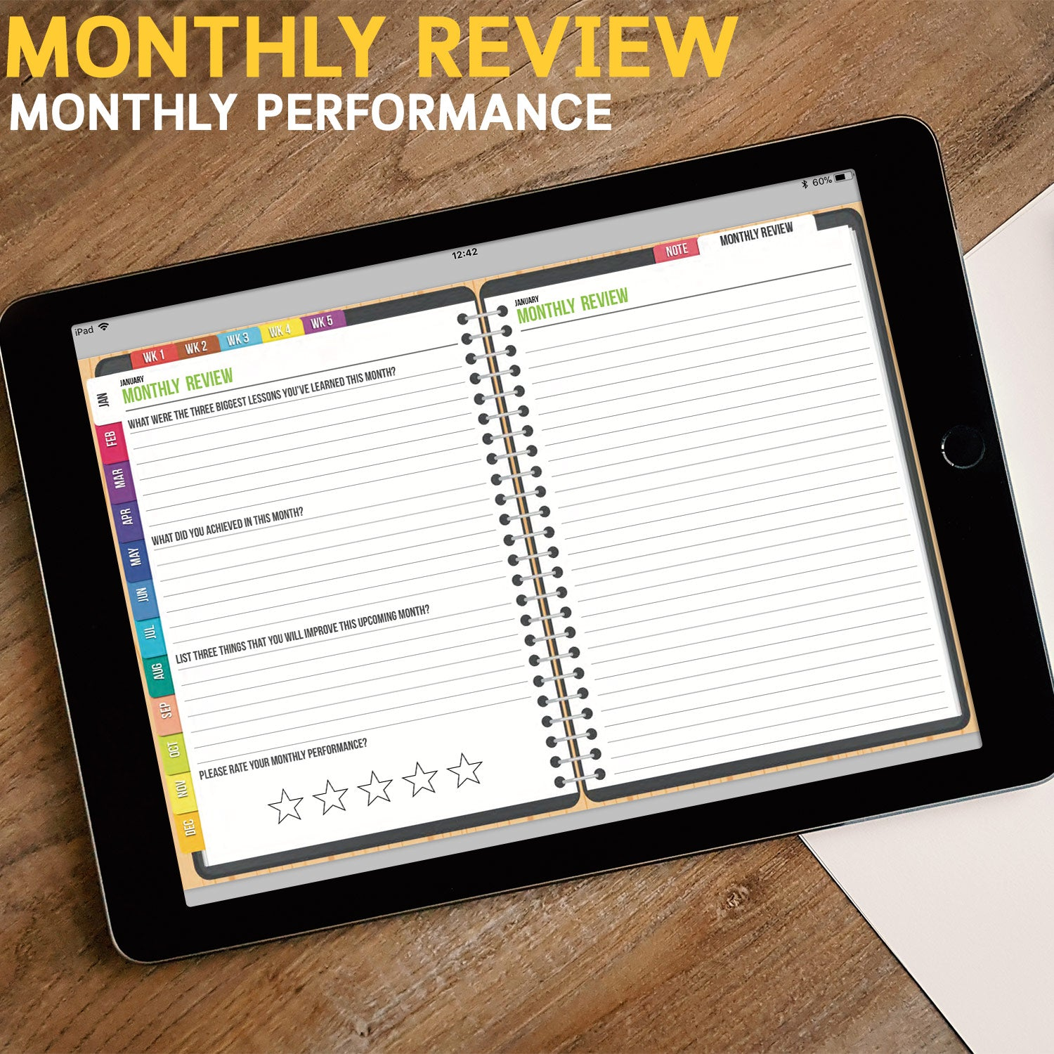 BabaNana Digital Planner for GoodNotes with functioning tabs : UNDATED MONDAY Version