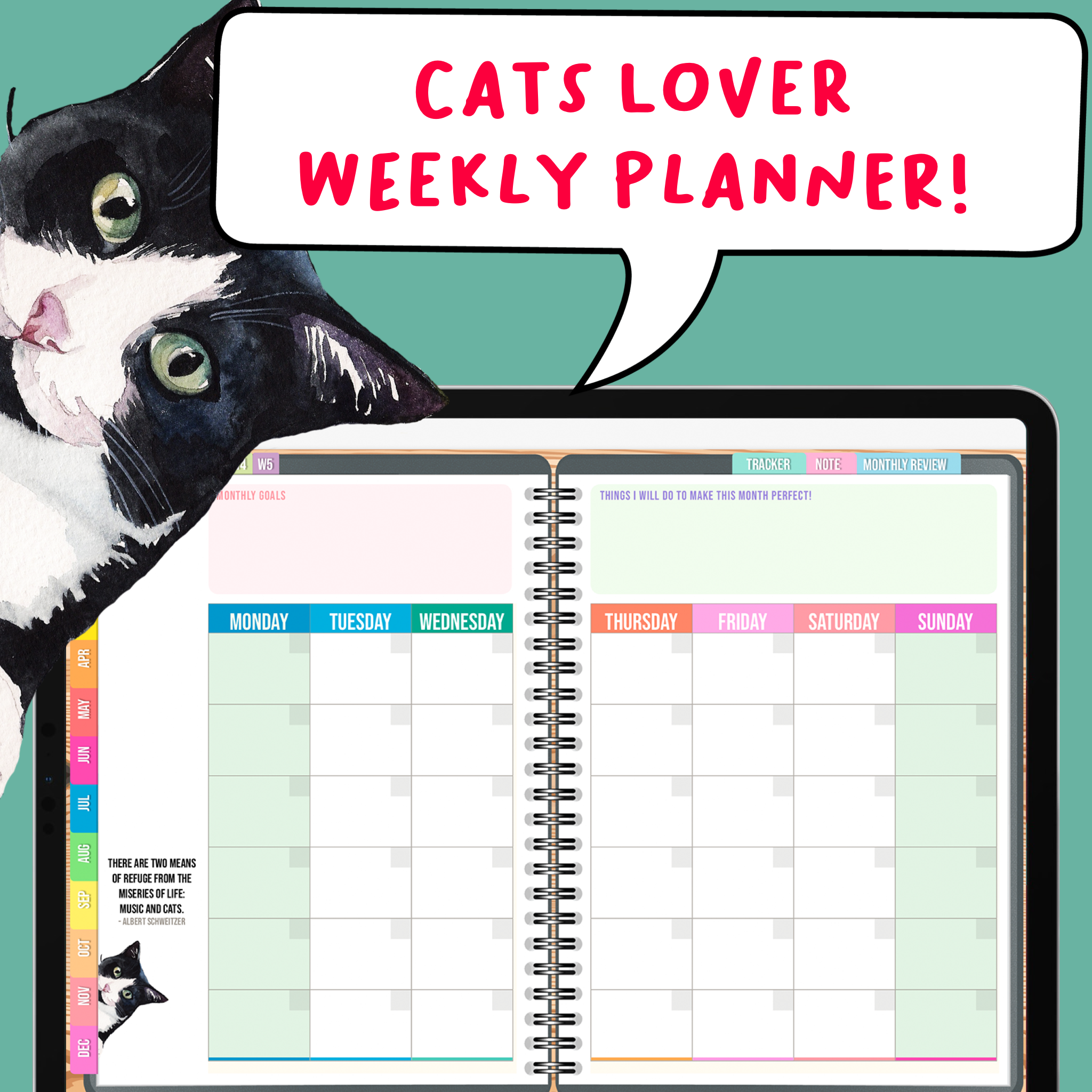 Cats Lover Edition BabaNana Digital Weekly Planner for GoodNotes Undated Sunday / Monday