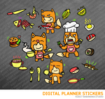 Kawaii Fox Cooking Digital Planner Stickers for iPad Planners Goodnotes