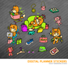Kawaii Fox Shopping Digital Planner Stickers for iPad Planners Goodnotes