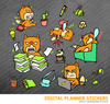 Kawaii Fox Working Digital Planner Stickers for iPad Planners Goodnotes