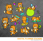 Kawaii Fox Workout Digital Planner Stickers for iPad Planners Goodnotes