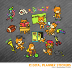 Kawaii Fox go to School Digital Planner Stickers for iPad Planners Goodnotes