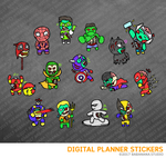 Kawaii Hero Zombie Digital Planner Stickers for iPad Planners Goodnotes