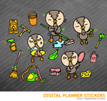 Kawaii OWL Cleaning Day Digital Planner Stickers for iPad Planners Goodnotes