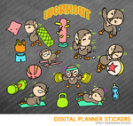 Kawaii OWL Workout Digital Planner Stickers for iPad Planners Goodnotes