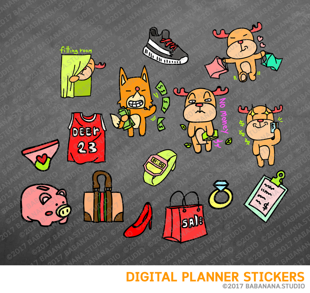 Kawaii Reindeer Shopping Digital Planner Stickers for iPad Planners Goodnotes